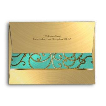 Aqua Green and Gold Filigree Swirls Envelope
