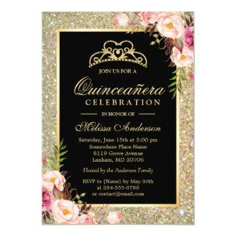 Quinceanera Birthday Floral Gold Glitter Sparkles Invitation