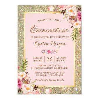 Quinceanera Birthday | Pink Floral Gold Glitters Invitation