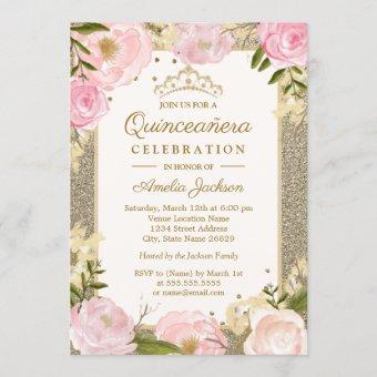 Birthday Sparkle Pink Gold Floral