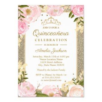 Quinceanera Birthday Sparkle Pink Gold Floral Invitation