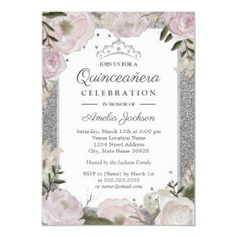 Quinceanera Birthday Sparkle Pink Silver Floral Invitation