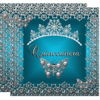 Birthday Teal Silver Tiara Butterfly