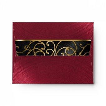 Black Red Gold Filigree Swirls Envelope