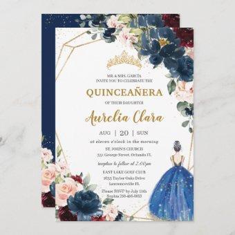Quinceañera Blue Burgundy Blush Floral Princess I