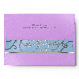 Blue Purple Silver Filigree Swirls Envelope