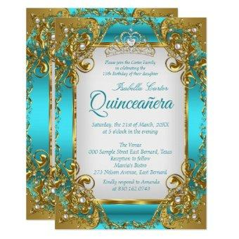 Blue Teal Golden Pearl Tiara Party
