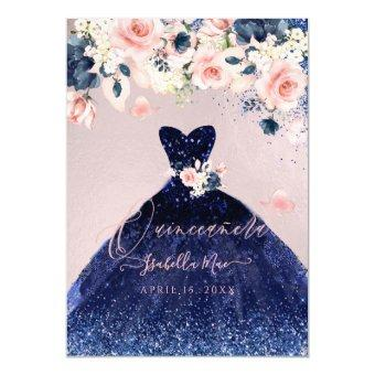Blush Floral Navy Blue Glitter Gown