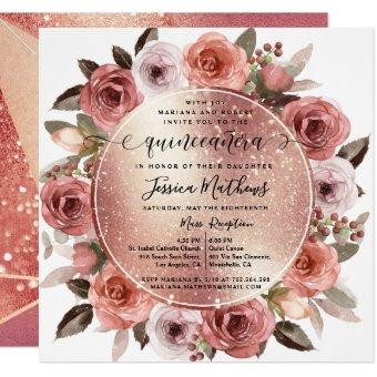 Blush Floral Rose Gold Glitter
