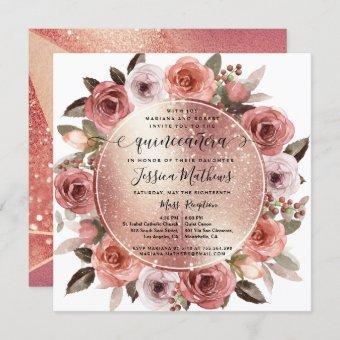 Blush Floral Rose Gold Glitter