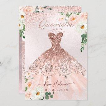 Quinceañera, Blush Floral Sparkle Gown Rose Gold
