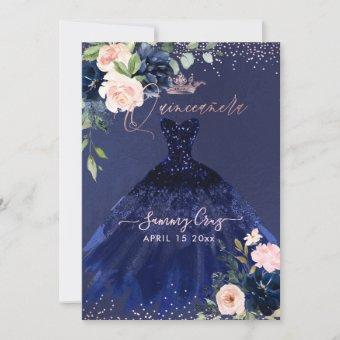 Blush Navy Blue Watercolor Flowers Inv