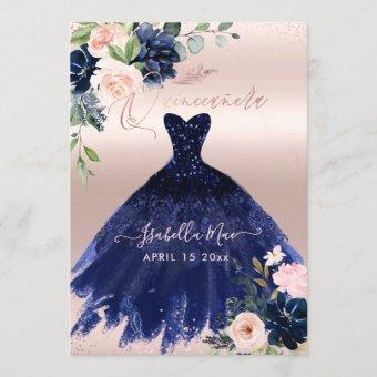 Blush Navy Blue Watercolor Flowers