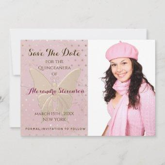 Blush Pink and Gold Butterfly Photo Save The Date