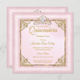 Blush Pink Damask photo Gold Tiara 2