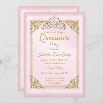 Blush Pink Damask photo Gold Tiara