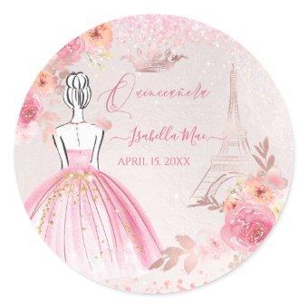 Blush Pink Rose Gold Eiffel Tower Classic Round Sticker