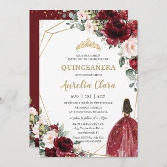 Quinceañera Burgundy Blush Floral Gold Princess