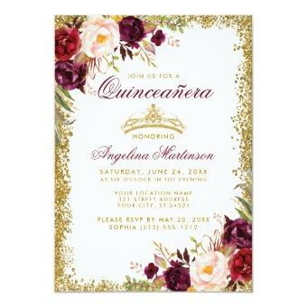 Burgundy Floral Gold Crown Invite