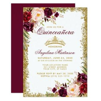 Quinceanera Burgundy Floral Gold Crown Invite B