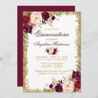 Burgundy Floral Gold Glitter Invite B