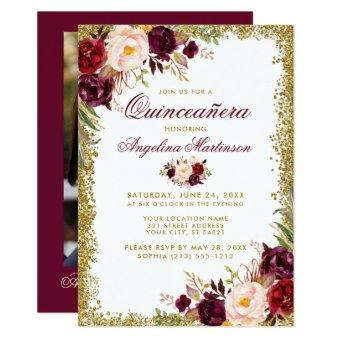Burgundy Floral Gold Glitter Photo