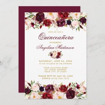 Burgundy Floral Gold Photo