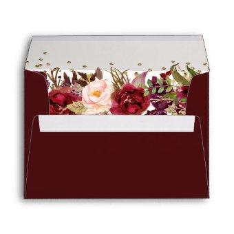 Burgundy Gold floral Sparkle Envelope