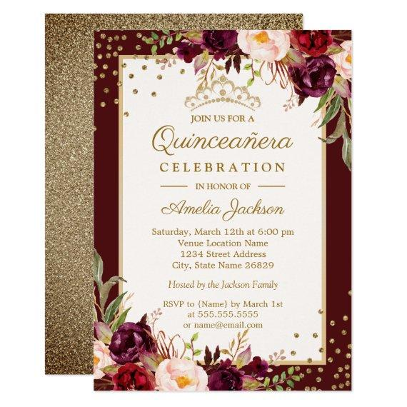 Burgundy Gold floral Sparkle Invite