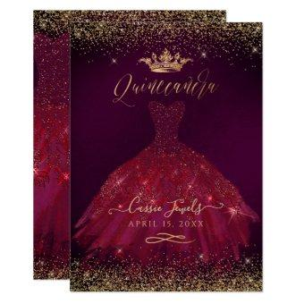 Burgundy Gold Glitter Princess Crown