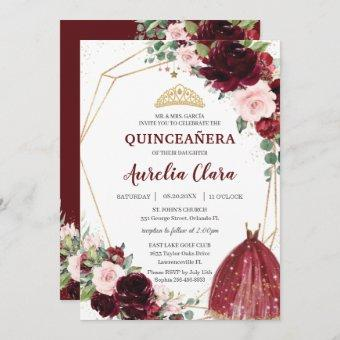 Quinceañera Burgundy Pink Floral Roses Ball Gown