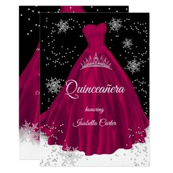 Burgundy pink snowflake Silver Dress