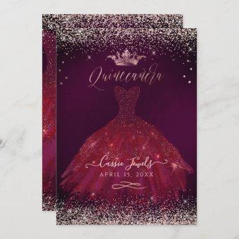 Burgundy Rose Gold Confetti+Princess