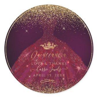 Quinceañera Burgundy Sparkle Gown Classic Round Sticker