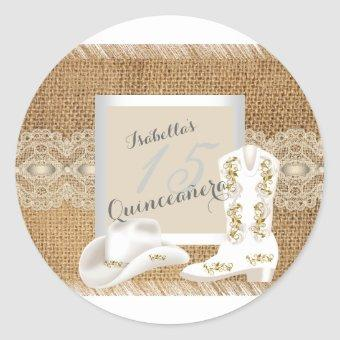 Burlap Lace Cowgirl Classic Round Sticker