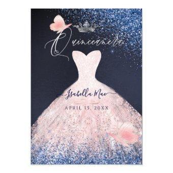 Butterfly Blush Glitter Gown Blue Navy