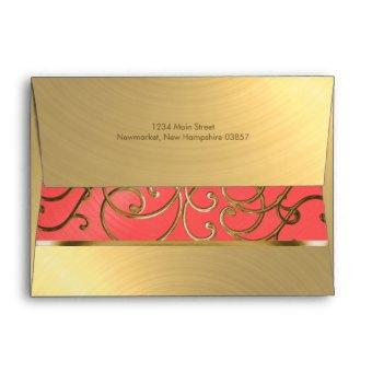 Coral Pink and Gold Filigree Swirls Envelope