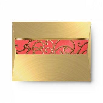 Coral Pink and Gold Filigree Swirls Envelope