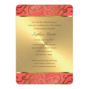 Coral Pink and Gold Filigree Swirls