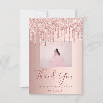 custom photo rose gold pink glitter thank you