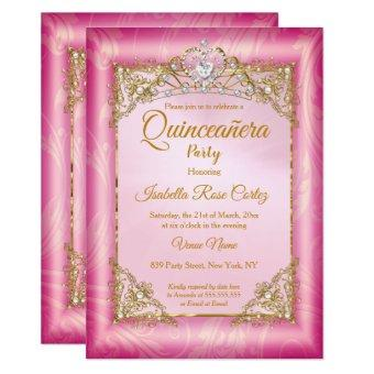 deep Pink Damask photo Gold Tiara