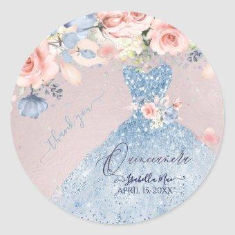 Dusty Blue Glitter Gown Blush Roses C Classic Round Sticker