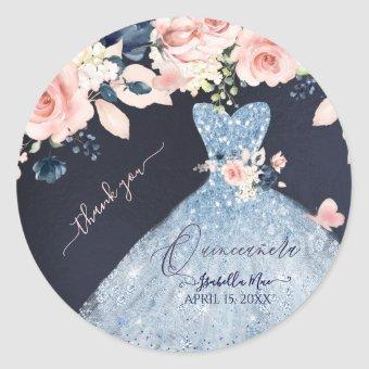 Dusty Blue Glitter Gown Blush Roses Classic Round Sticker