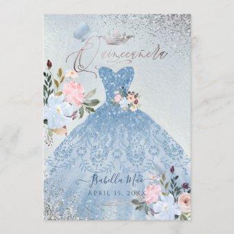 Dusty Blue Glitter Gown Butterflies
