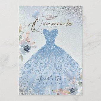 Dusty Blue Glitter Gown Butterflies