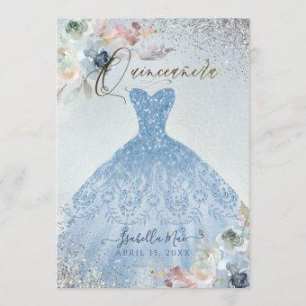 Dusty Blue Silver Glitter Gown Roses