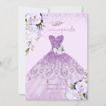 Dusty Lilac Purple Silver Glitter Gown