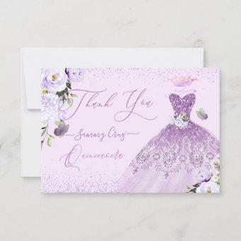 Dusty Lilac Purple Silver Glitter Gown Thank You