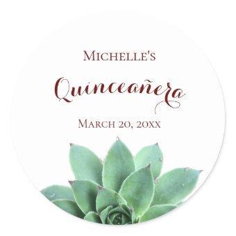 Elegant Botanical Succulent Classic Round Sticker