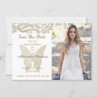 Elegant Floral Gold Butterfly Photo Save The Date